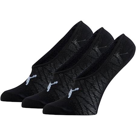 Women's Liner Socks [3 Pack], BLACK / WHITE, small